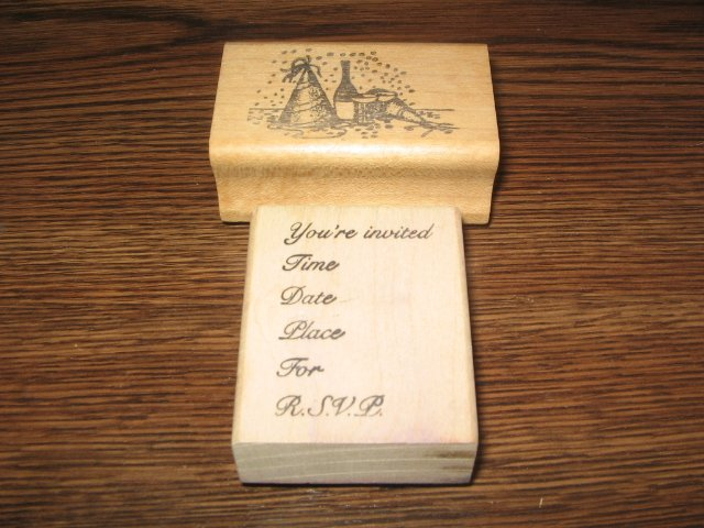 You're Invited & Party Scene Wood Mounted Rubber Stamp Lot Of 2