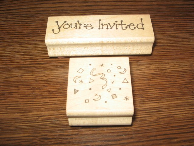 You're Invited & Confetti Wood Mounted Rubber Stamp Lot Of 2