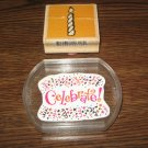 Birthday Candle & Celebrate Wood And Acrylic Mounted Rubber Stamp Lot Of 2