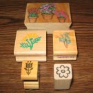 Flower Wood Mounted Rubber Stamps Lot Of 5