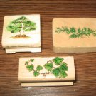 Tree & Leaves Wood Mounted Rubber Stamps Lot Of 3