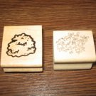 Shrubbery Wood Mounted Rubber Stamps Lot Of 2