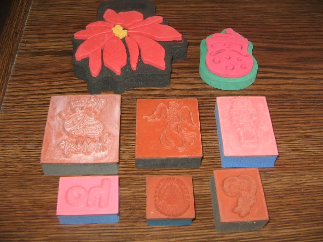 Christmas Foam Mounted Rubber Stamp Lot Of 8