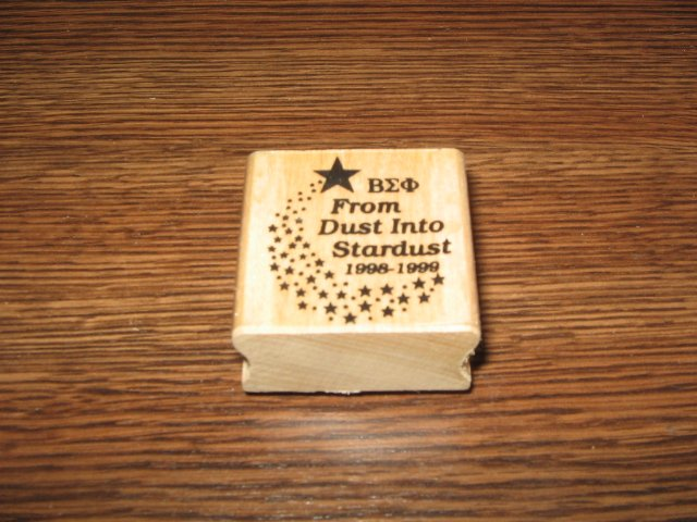 �ΣΦ Beta Sigma Phi From Dust Into Stardust Wood Mounted Rubber Stamp
