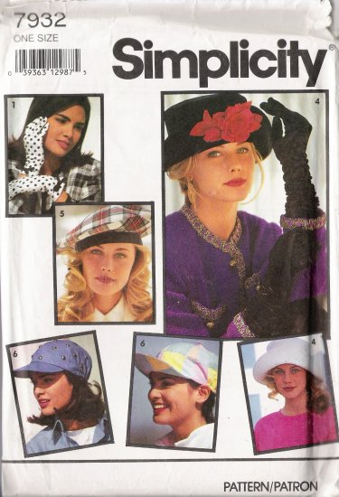 Set Of Hats and Gloves Sewing Pattern One Size Simplicity 7932 UNCUT