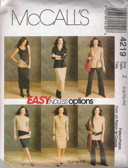 Misses' Wardrobe Sewing Pattern Size L-XXL McCall's 4219 UNCUT