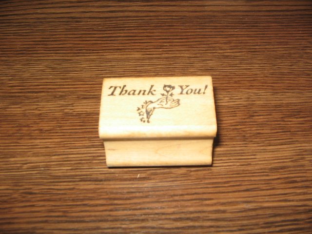 Thank You Hand With Rose Wood Mounted Rubber Stamp by All Night Media