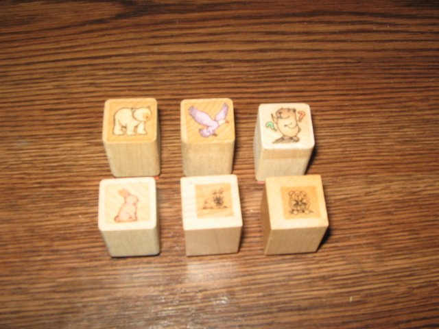 Animal Wood Mounted Rubber Stamps Lot Of 6