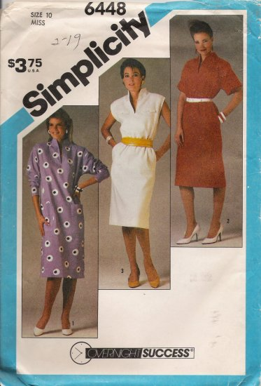 Misses' Pullover Funnel Neck Dress Sewing Pattern Size 10 Simplicity 6448 UNCUT