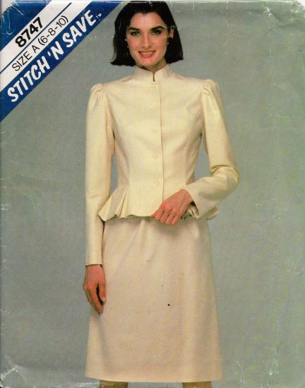 Misses' Jacket & Skirt Sewing Pattern Size 6-10 McCall's 8747 UNCUT