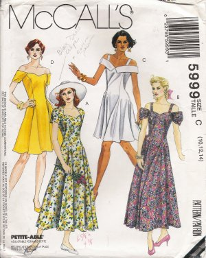 Misses' Dress Sewing Pattern Size 10-14 McCall's 5999 UNCUT