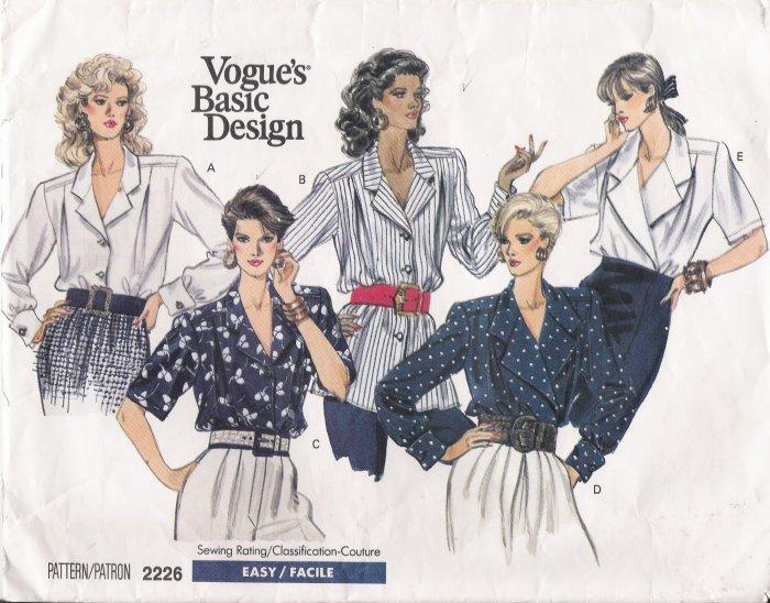 Misses' Blouse Sewing Pattern Size 12-16 Vogue 2226 UNCUT