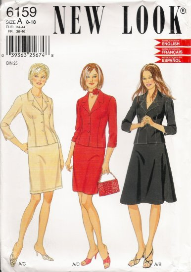 Misses' Skirt & Jacket Sewing Pattern Size 8-18 Simplicity New Look 6159 UNCUT