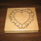 Large Ruffled Heart Wood Mounted Rubber Stamp