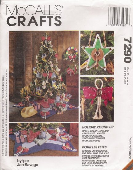 Western Christmas Ornaments Stockings Tree Skirt Sewing Pattern McCall's 7290 UNCUT