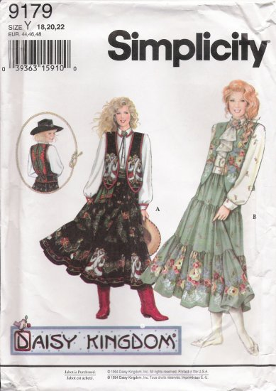 Misses' Separates Sewing Pattern Daisy Kingdom Size 18-22 Simplicity 9179 UNCUT