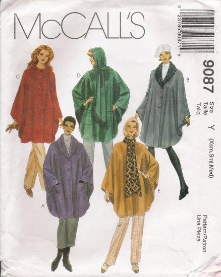 Misses' Unlined Capes Sewing Pattern Size XS-M McCall's 9087 UNCUT