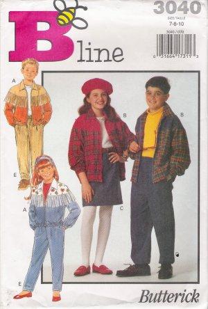 Girls' & Boys' Jacket Skirt Pants Sewing Pattern Size 7-10 Butterick 3040 UNCUT