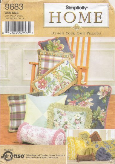 Design Your Own Pillows Sewing Pattern Simplicity 9683 UNCUT