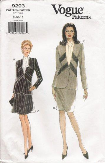 Misses' Jacket & Skirt Sewing Pattern Size 8-12 Vogue 9293 UNCUT