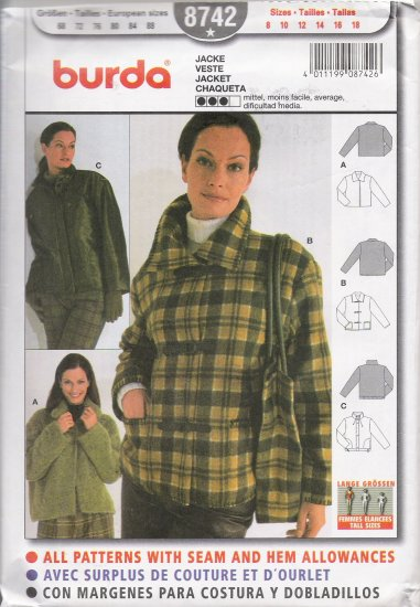 Misses' Jacket Sewing Pattern Size 8-18 Burda 8742 UNCUT