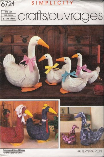 Large & Small Goose Sewing Pattern Simplicity 6721 CUT