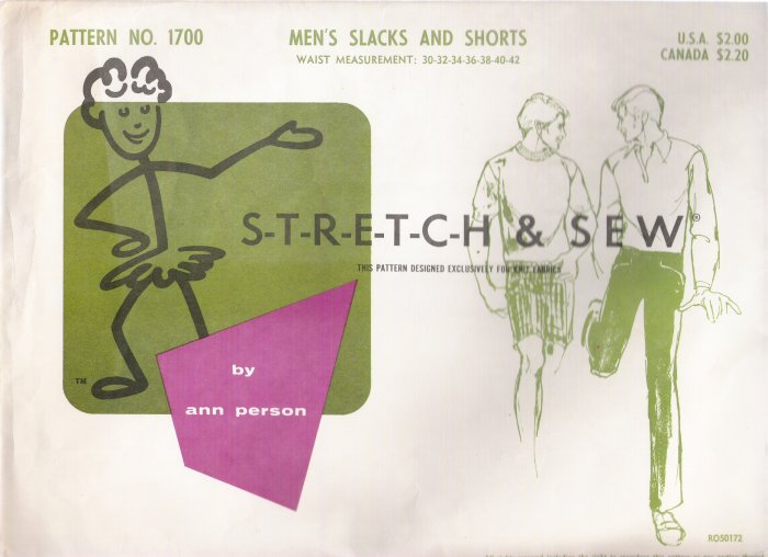 Vintage Sewing Pattern Men's Slacks & Shorts Sizes 30-42 Stretch & Sew 1700 UNCUT