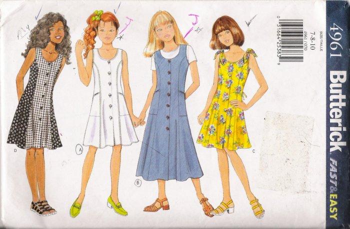 Girls' Dress Sewing Pattern Size 7-10 Butterick 4961 UNCUT