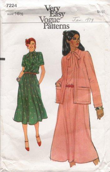 Vintage Sewing Pattern Half-Size Dress & Jacket Size 16 1/2 Vogue 7224 UNCUT