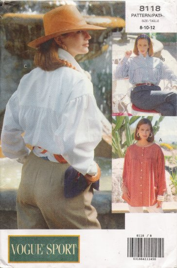 Misses' Shirt Sewing Pattern Size 8-12 Vogue 8118 UNCUT