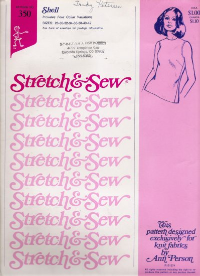 Vintage Sewing Pattern Shell Top Sizes 28-42 Stretch & Sew 350 UNCUT