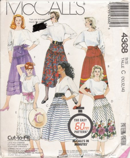 Misses' Skirt & Sash Sewing Pattern Size 10-14 McCall's 4368 UNCUT
