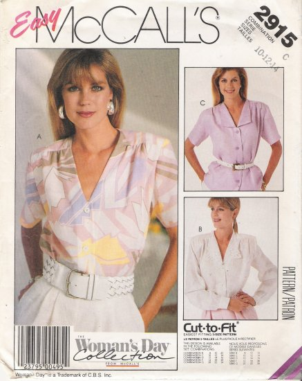Misses' Blouse Sewing Pattern Size 10-14 McCall's 2915 UNCUT