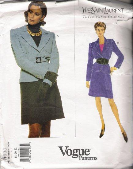 Misses' Jacket & Skirt Sewing Pattern by Yves Saint Laurent Size 18-22 Vogue 1630 UNCUT