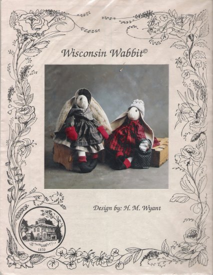"""Wisconsin Wabbit 21"""" Bunny Rabbit & Clothes Sewing Pattern by H. M. Wyant UNCUT"""