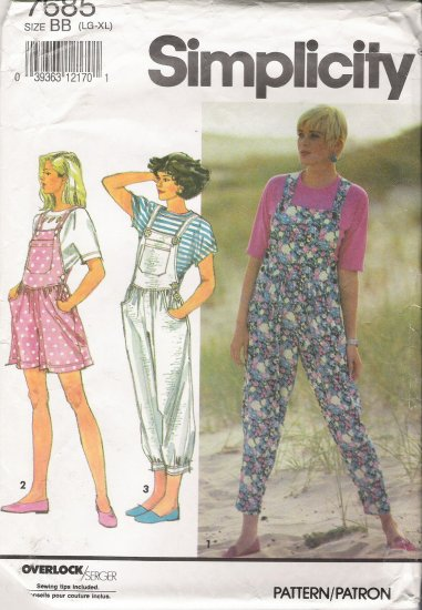 Misses' Knit Overalls & Top Sewing Pattern Size LG-XL Simplicity 7685 UNCUT