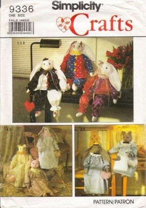 Decorative Stuffed Bunny & Cat Sewing Pattern Simplicity 9336 UNCUT