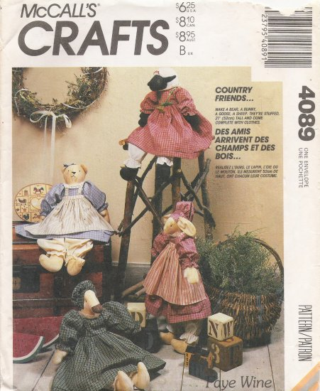 Stuffed Animal Doll & Clothes Sewing Pattern McCalls 4089 UNCUT