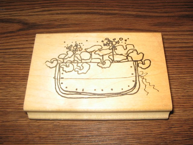 Geranium Flower Pocket Wood Mounted Rubber Stamp