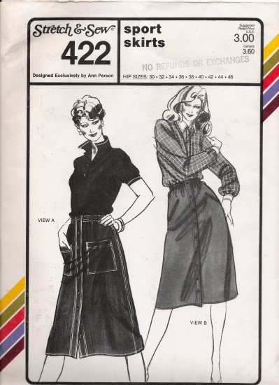 Vintage Sewing Pattern Misses' Sport Skirts Hip Sizes 30-46 Stretch & Sew 422 UNCUT