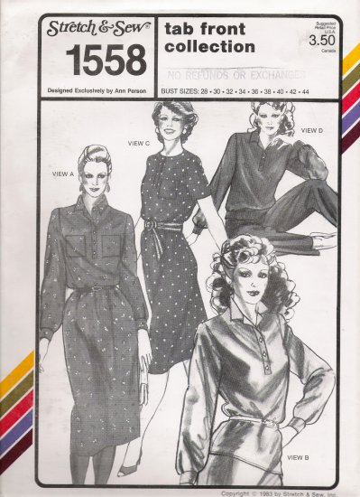 Vintage Sewing Pattern Tab Front Collection Bust Sizes 28-44 Stretch & Sew 1558 UNCUT