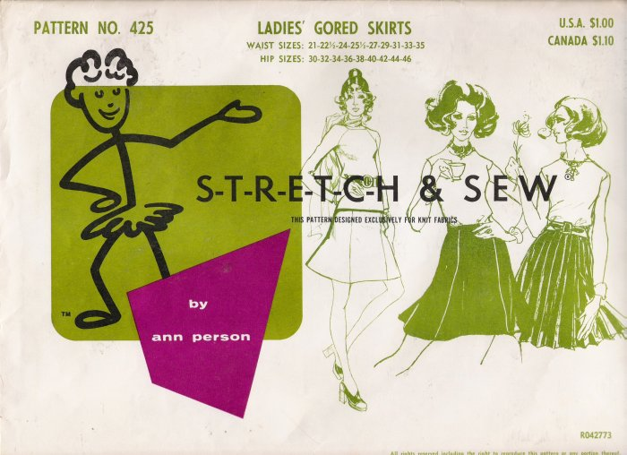 Vintage Sewing Pattern Ladies' Gored Skirts Hip Sizes 30-46 Stretch & Sew 425 UNCUT