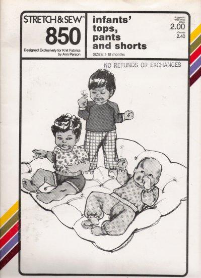Vintage Sewing Pattern Infants' Tops Pants Shorts Size 1-18 Months Stretch & Sew 850 UNCUT