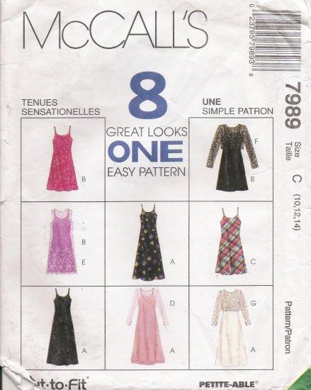 Misses' Slip-Dress Dress Top Sewing Pattern Size 10-14 McCall's 7989 UNCUT