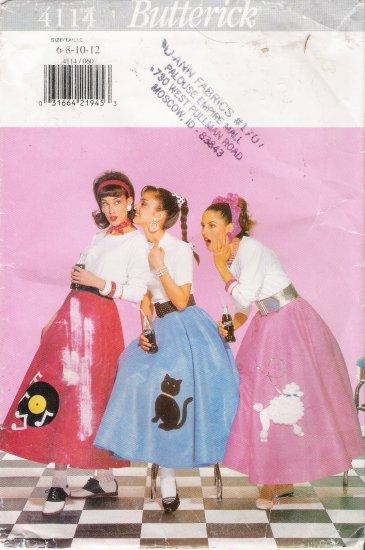 Misses' Poodle Skirt & Petticoat Halloween Costume Sewing Pattern Size 6-12 Butterick 4114 UNCUT