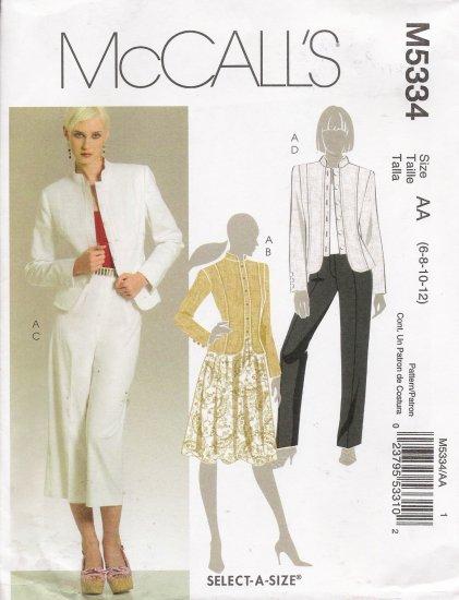 Misses' Jacket Skirt Pants Sewing Pattern Size 6-12 McCall's 5334 UNCUT