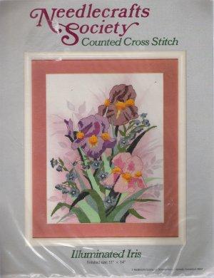 Illuminated Iris Cross Stitch Kit by Needlecrafts Society