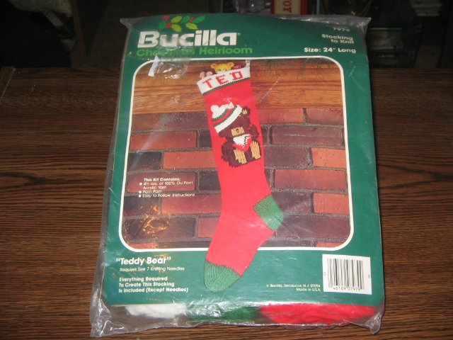 Teddy Bear Christmas Stocking Vintage Knitting Kit by Bucilla