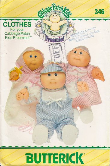 Cabbage Patch Kids Preemies Doll Clothes Sewing Pattern Butterick 346 UNCUT