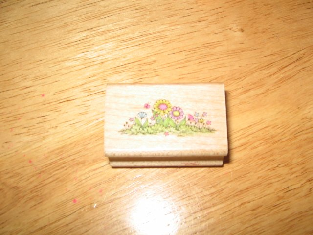 Flower and Grass Border Wood Mounted Rubber Stamp by Hero Arts